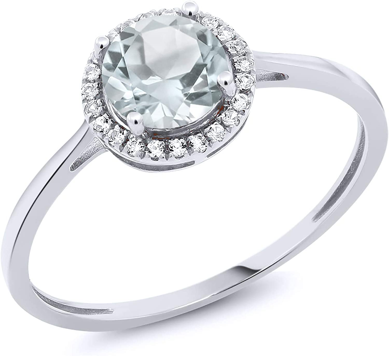 Gem Stone King 10K White Gold Sky Blue Aquamarine and Diamond Women Engagement Ring 0.97 Cttw (Available 5,6,7,8,9)