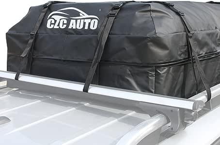 CZC AUTO Car Roof Cargo Carrier, 15 cu. ft Waterproof/Rainproof/Weatherproof Rooftop Storage Bag for Car SUV Van Sedan with Roof Rail Cross Bar Basket or Rack, Soft, Black