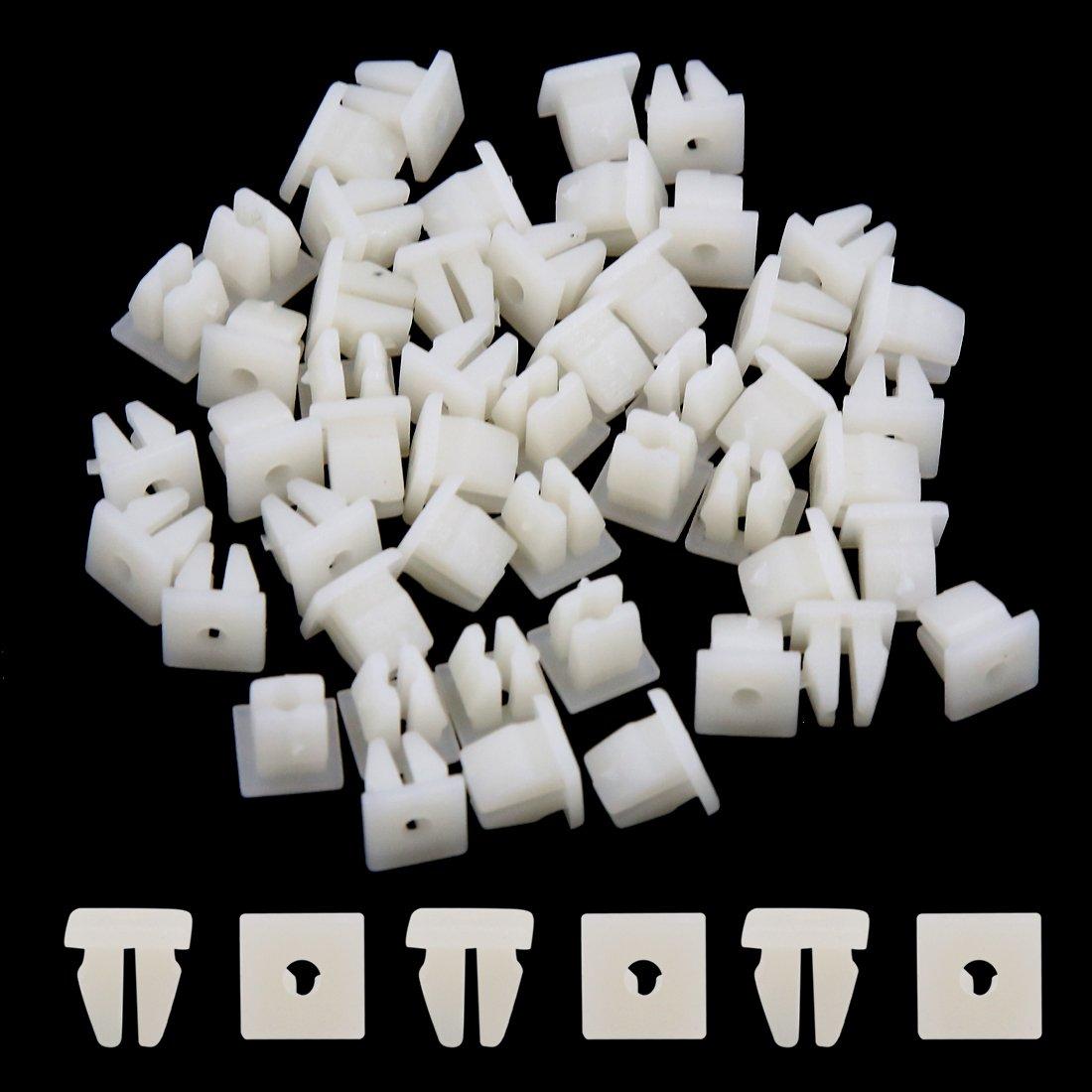 sourcingmap 50pcs 7mm x 6mm Hole Car White Plastic Rivets Trim Fastener Clips