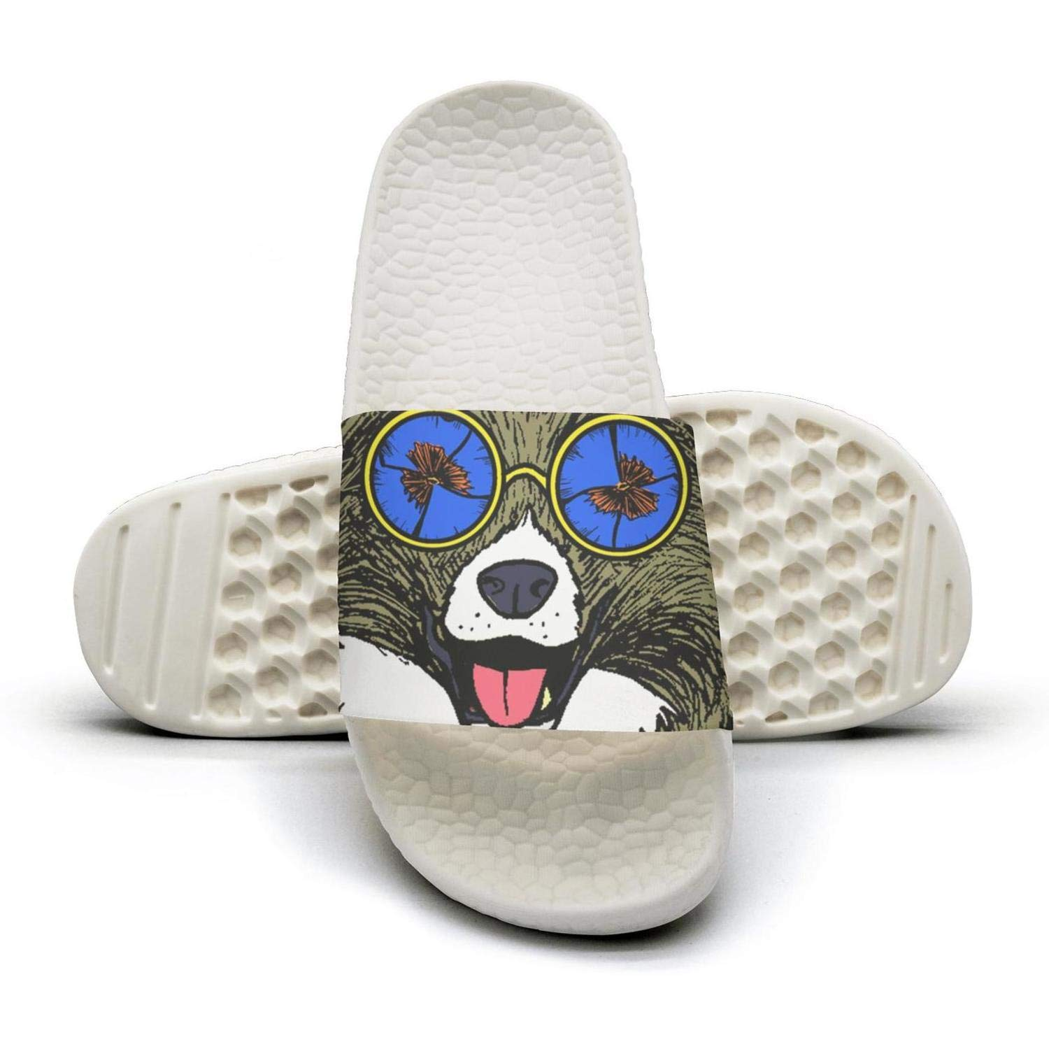 HSJDAPOCOAQ Psychedelic colourful cute puppies wearing glasses indoor summer for women