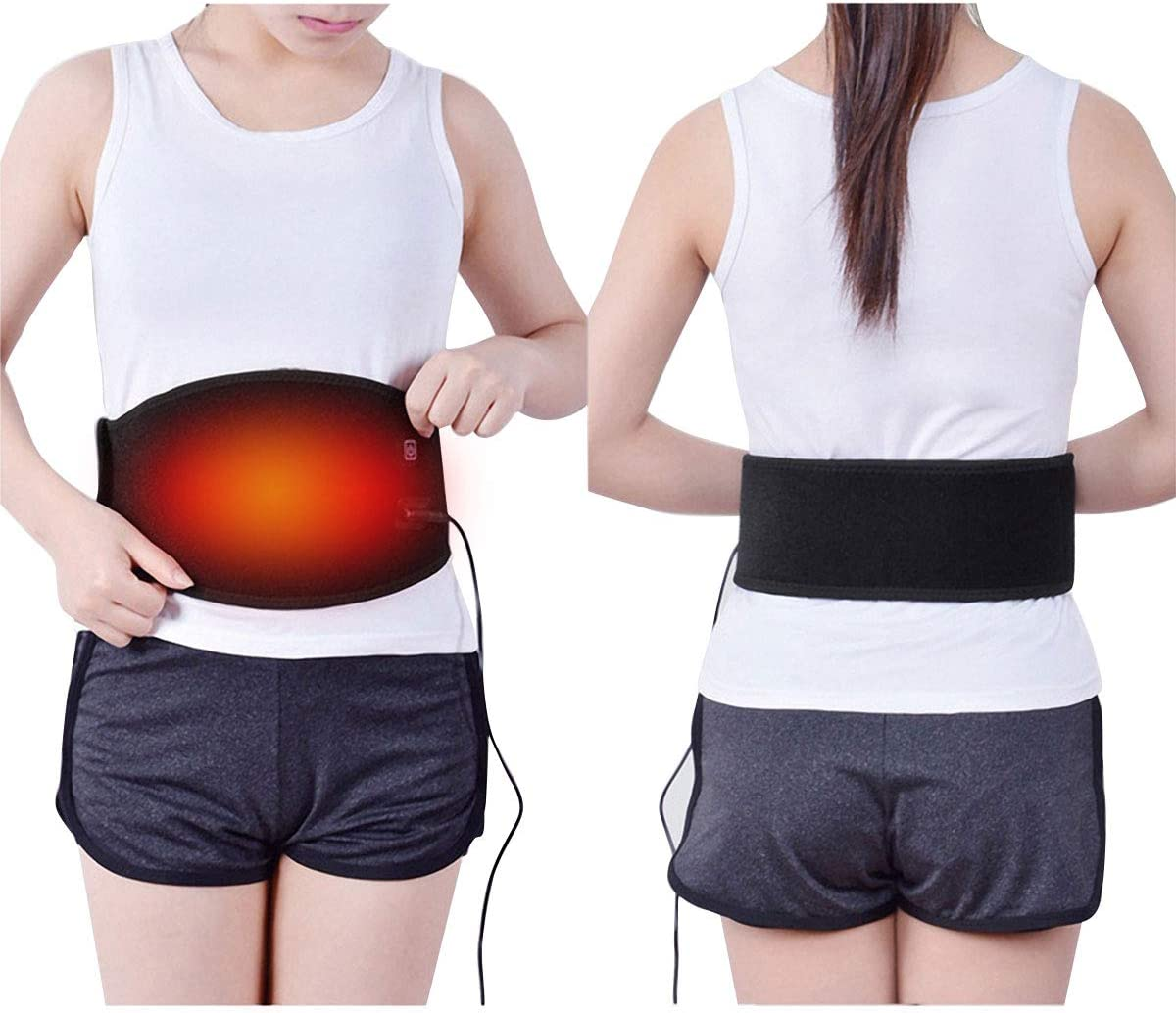 Waist Heat Belt, Electric Heating Pad Waist Support for Lower Back Arthritis, Strain, Stiffness, Lumbar Spine Pain Relief, 3 Settings Heat Therapy Band Belly Warm Wrap for Abdominal Menstrual Cramps