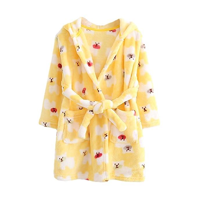 YOLIA Unisex Niños Batas Lindo con Capucha ropa de dormir de Lana Suave Albornoces Vestidos de Bata: Amazon.es: Ropa y accesorios