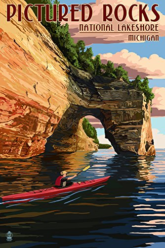 Pictured Rocks National Lakeshore, Michigan (16x24 Collectible Giclee Gallery Print, Wall Decor Travel Poster)