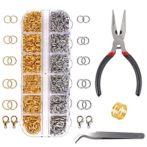 Macting 1330pcs Jewelry Findings Set Open Jump Rings and Lobster Clasps Jewelry Making Kit with Pliers for Jewelry Making (Silver and Gold)