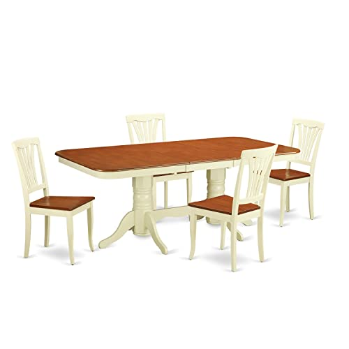 NAAV5-WHI-W 5 PC Dining room'set for 4-Dining Table with Leaf and 4 Dining Chairs