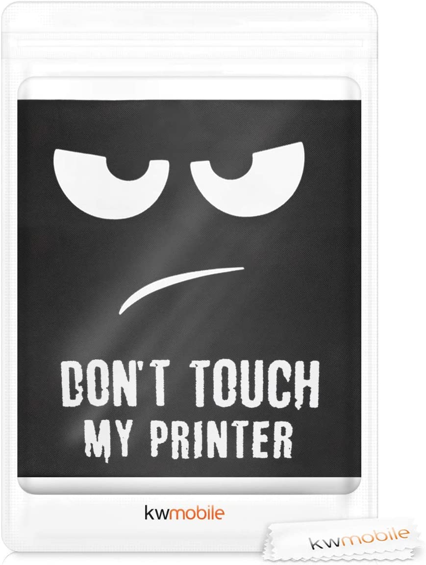 Durable and Resistant Printer Dust Cover kwmobile Cover Compatible with HP OfficeJet 3831 Dont touch my printer White//Black