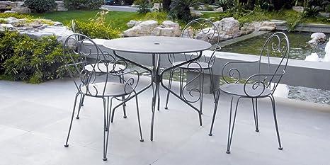 Inconnu Salon de Jardin métal Gris : 1 Table Ronde + 4 ...