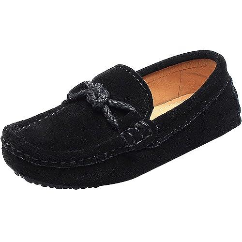 Shenn Chicos Niños Plano Tacón Comodidad Ante Cuero Ponerse Mocasines Zapatos: Amazon.es: Zapatos y complementos