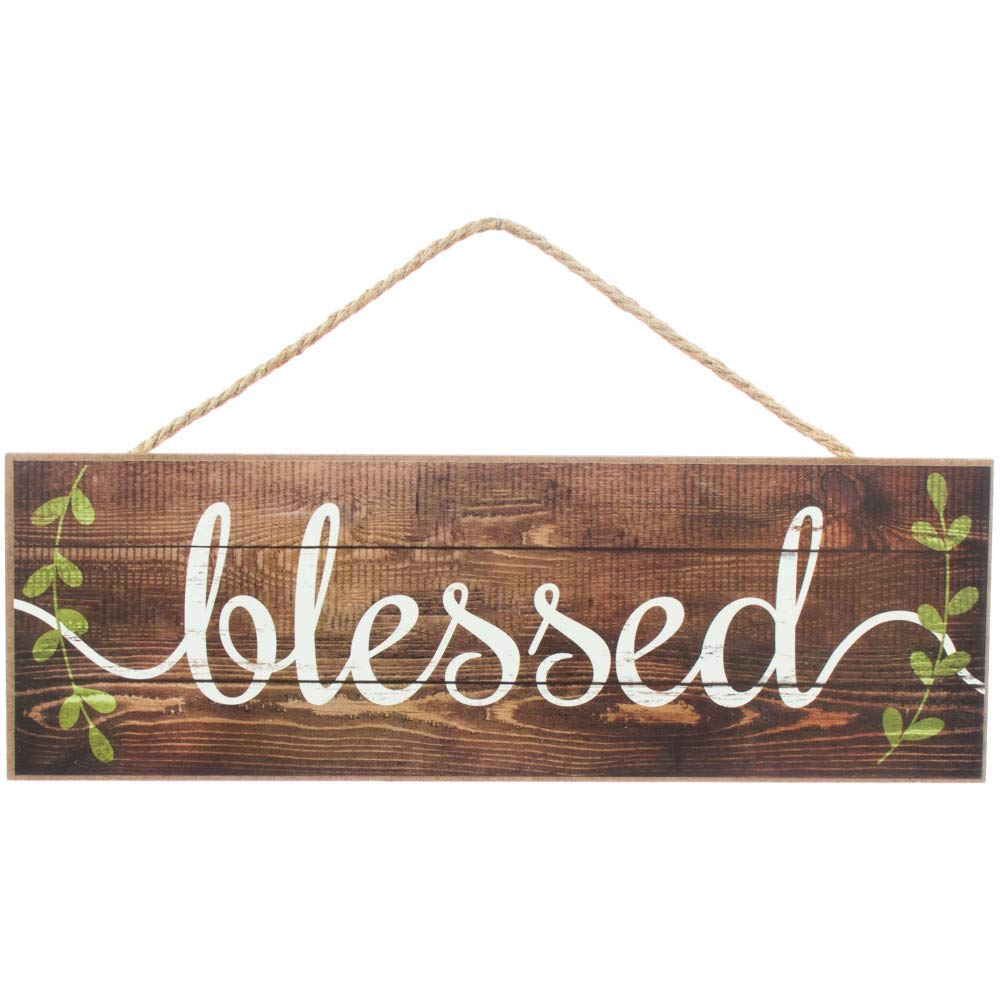 """GiftWrap Etc. Brown Rustic Wooden Blessed Sign - 15"""" x 5"""", Vintage Spring Easter Wall Decor, Wreath, Farmhouse. Home, Kitchen, Front Door, Porch, Barn, Christian Decoration"""