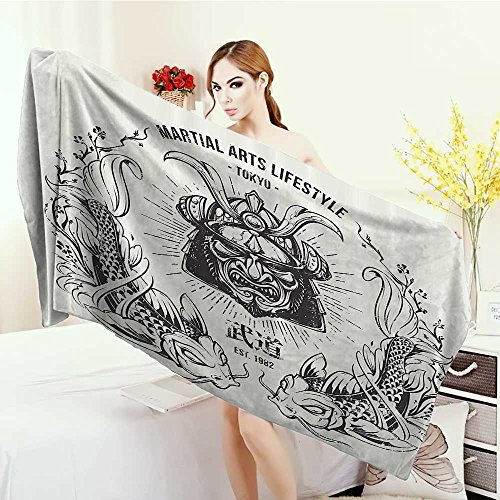 Adults Soft Absorbent Quick Dry Blanket Asian Traditional Japanese Samurai Mask Koi Fish Martial Arts Lifestyle Tokyo Typography Large Bath Towel 55