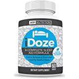 iDOZE Natural Adult Sleep Aid Supplement Formula, Fast Deep Restful Herbal Remedy, Non-Habit Forming, Melatonin, Magnesium L-Threonate, Valerian, Taurine, Passion Flower...60 Count Lifetime Guarantee