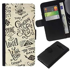 WINCASE Cuadro Funda Voltear Cuero Ranura Tarjetas TPU Carcasas Protectora Cover Case Para Samsung Galaxy Core Prime - esbozo de dibujo tablero de resaca moderna