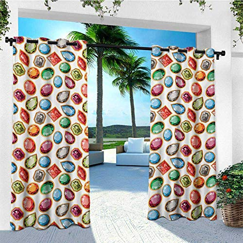 leinuoyi Diamond, Outdoor Curtain Extra Long, Diamond Patterns Different Type of Forms Facets Square Oval Triangle Topaz Illustration, Outdoor Privacy Porch Curtains W120 x L108 Inch Multi