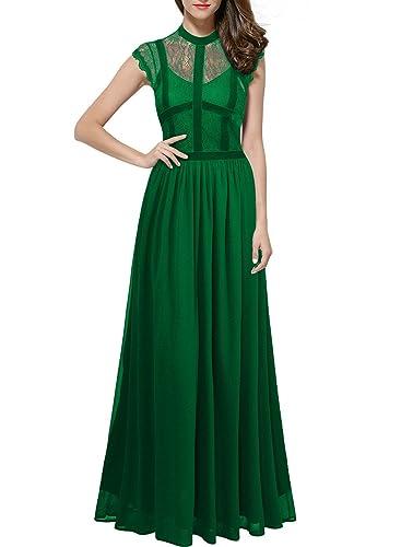 ThaliaDress Long Lace Sheer Neck Retro Royal Style Formal Evening Dress T286LF