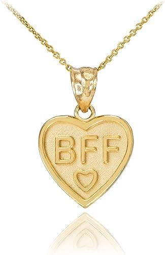 1 Gram Mens Ladies 10k Yellow Real Gold BEST FRIEND Split Heart Charm Pendant
