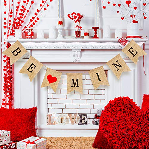 Tatuo Be Mine Banner Valentine's Burlap Banner Valentine's Day Garlands Banner Photo Prop for Valentine's Day Anniversary Wedding Birthday Party Decorations -