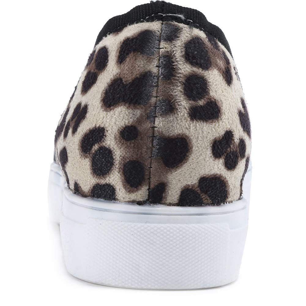 Kariwell Loafers for Women Women Fashion Retro Leopard Flock Loafers Lazy Flat Round Toe Casual Shoes