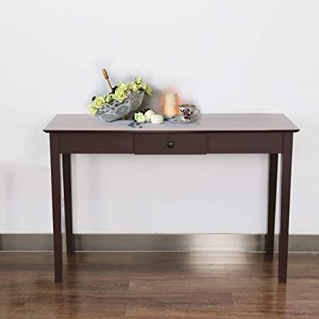 Kinbor Console Sofa Table Espresso Solid Wood Hallway Desk for Entryway with One Drawer Storage