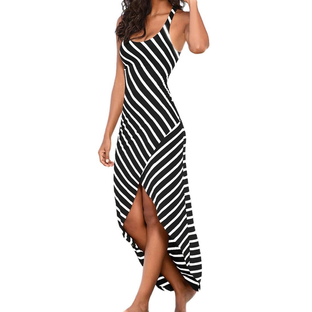 Kleid Damen Kolylong ® Frauen V-Ausschnitt elegant gestreift unregelmäßig langes Kleid Partykleid Sommer Jahrgang Strandkleid Abendkleid Sommerkleid