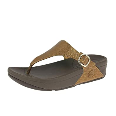 dcc0d817e056 FitFlop Sandal The Skinny Deluxe Bronze UK6.5 Bronze  Amazon.co.uk ...