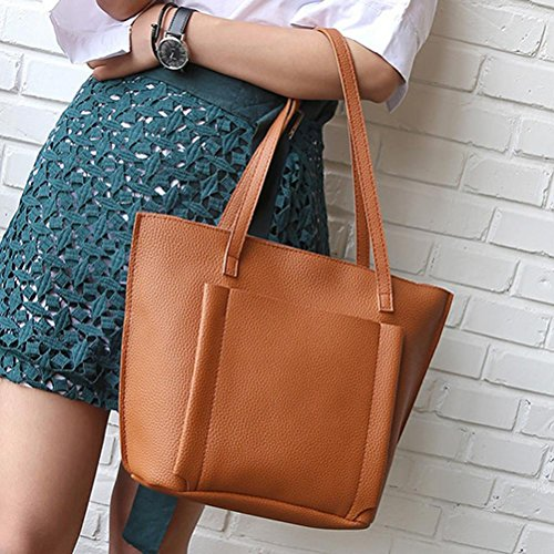 Four TUDUZ Crossbody Women Brown Tote Bag Four Shoulder Bags Handbag Set Pieces Fashion Casual Wallet wrtAqrR
