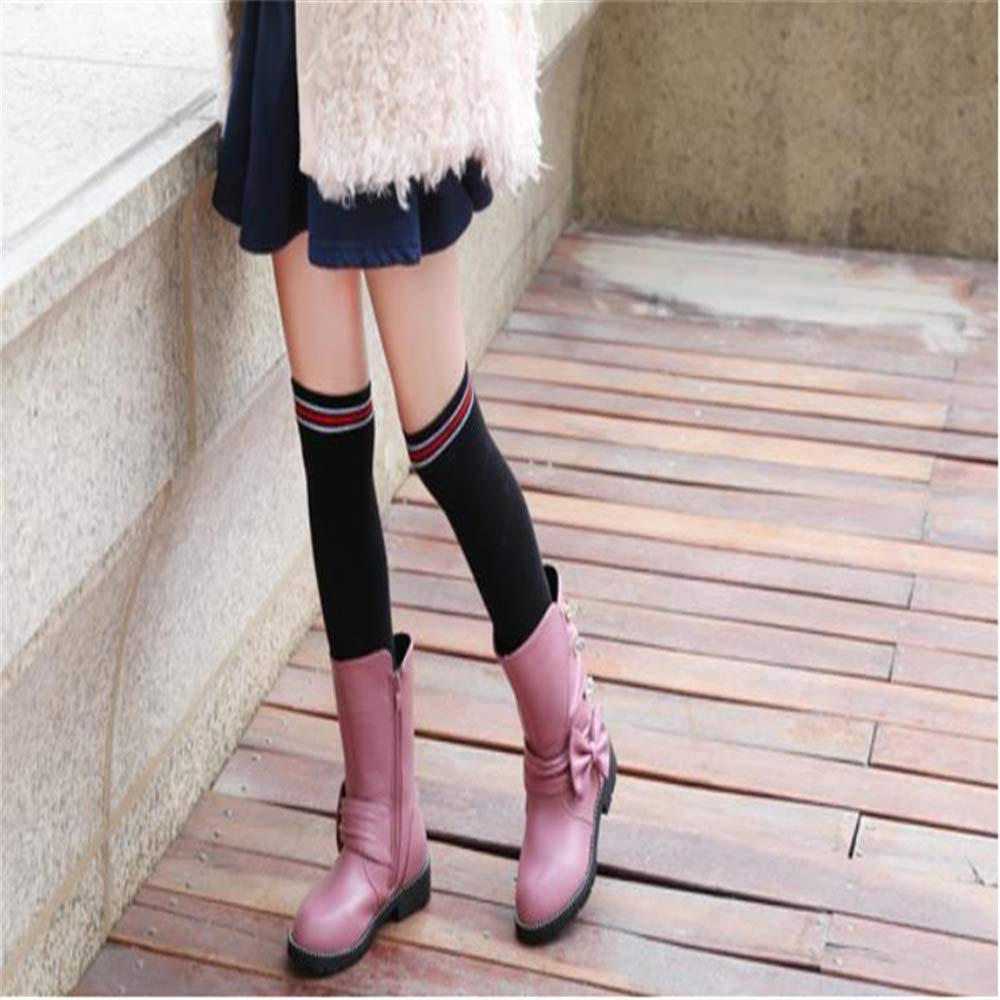 excellent.c Girls Martin Boots Long Tube Princess Shoes high Boots Low Heel Boots