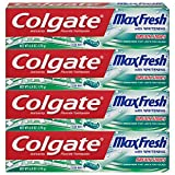 Colgate Max Fresh Whitening Toothpaste with Breath Strips, Clean Mint - 6 ounce (4 Count)