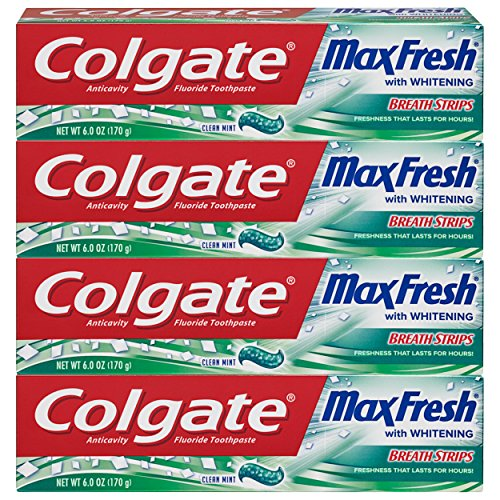 (Colgate Max Fresh Whitening Toothpaste with Breath Strips, Clean Mint - 6 ounce ,4 Count)