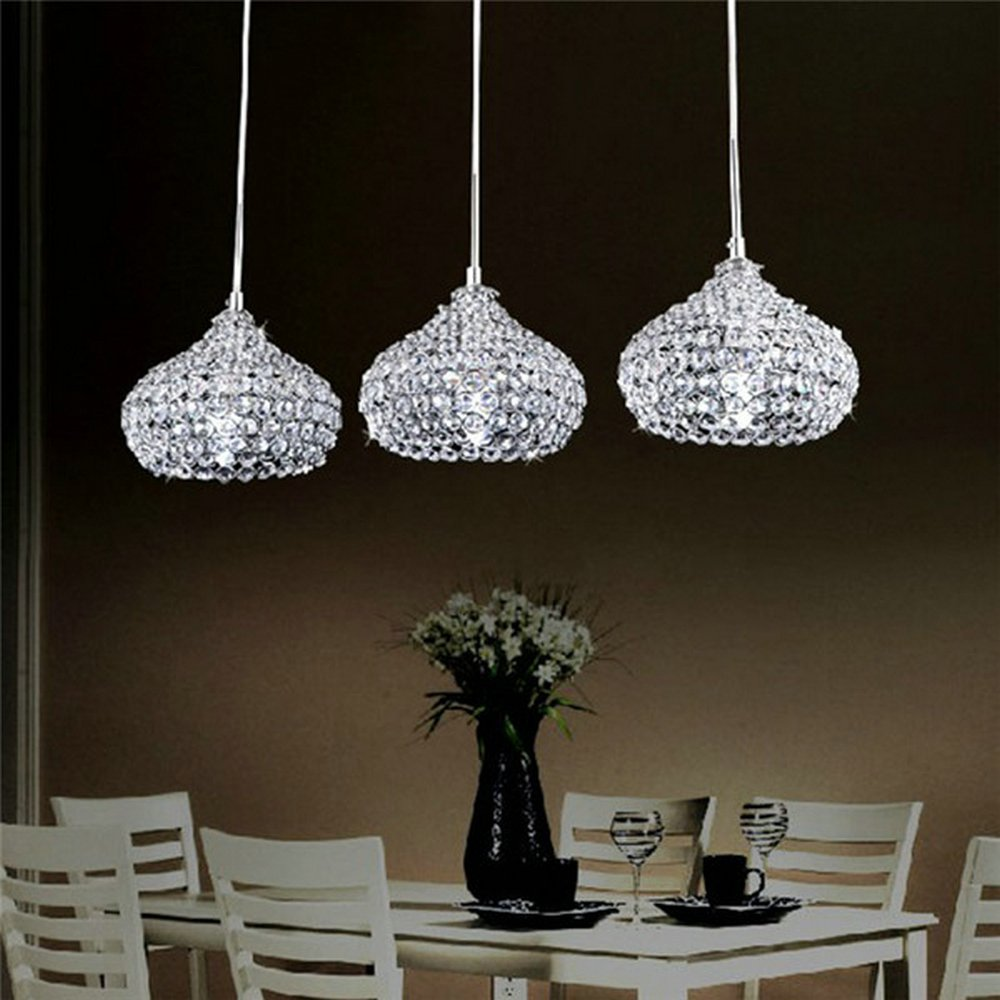 DINGGUTMChrome Finish Modern 3 Lights Crystal Chandelier Pendant Lighting For Dining Room