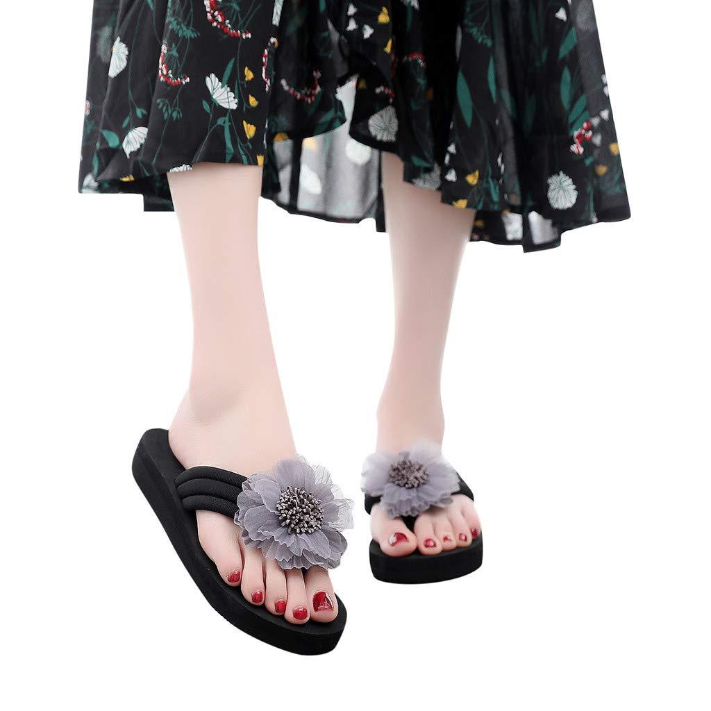 Seaintheson Women Flip Flops, Ladies Summer Flowers Thongs Sandals Home Beach Shoes High Wedges Platform Slippers