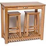 Hallowood Camberley Breakfast Bar Set in Light Oak Finish Stools | Wooden Kitchen Dining Table & 2 Seats | Buffet Counter Compact Drawer Two Chairs, ((CABRK1)