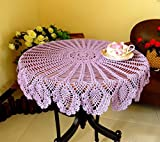 WCHUANG Handmade Crochet Tablecloths Cotton Round Placemat Tablemat Table Cloth Doily (purple)