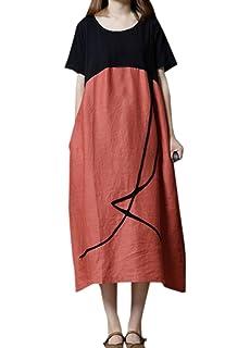 WOZNLOYE Damen Midi Kleid Sommer Freizeit Locker Rundhals Kurzarm Kleider  Strandkleider Blusenkleider Mode Patchwork Kleider Partykleider f1f7164229