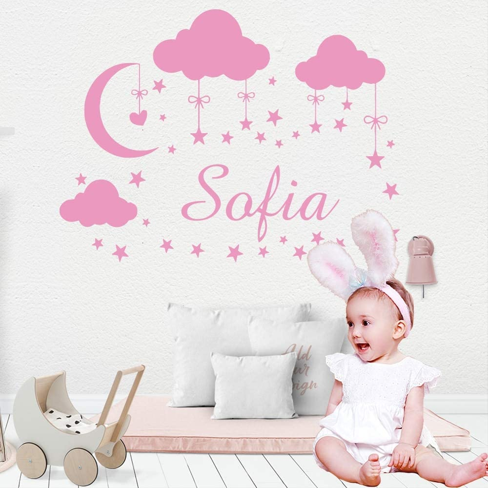 Ajcwhml Nombre del bebé Personalizado Nube Pegatina de Pared Vinilo Apliques de Arte para niños decoración de la habitación del bebé niño niña Dormitorio Mural Decorativo