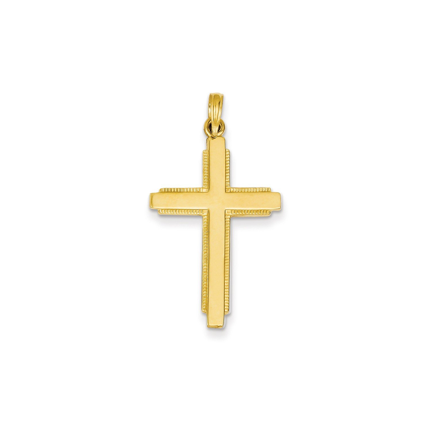 Roy Rose Jewelry 14K Yellow Gold Solid Cross Pendant 38mm length