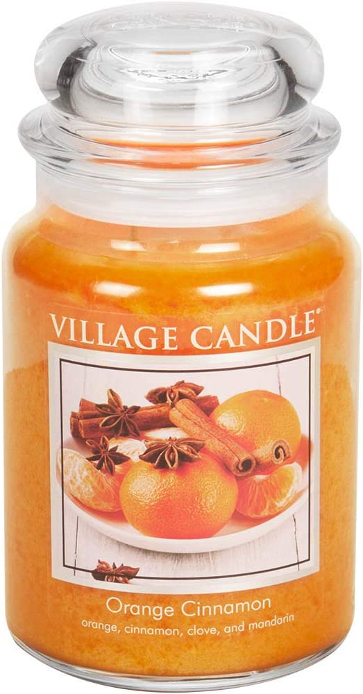 Village Candle Orange Cinnamon Large Glass Apothecary Jar Scented Candle, 21.25 oz