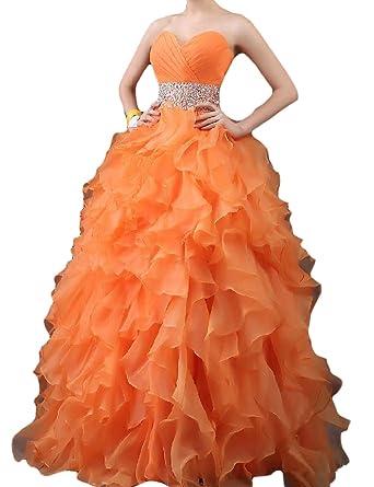 d2843b8bfe5 OYISHA Women s 2016 Sweetheart Ruffled Beads Quinceanera Dress Ball Gown  0025PM Orange 2