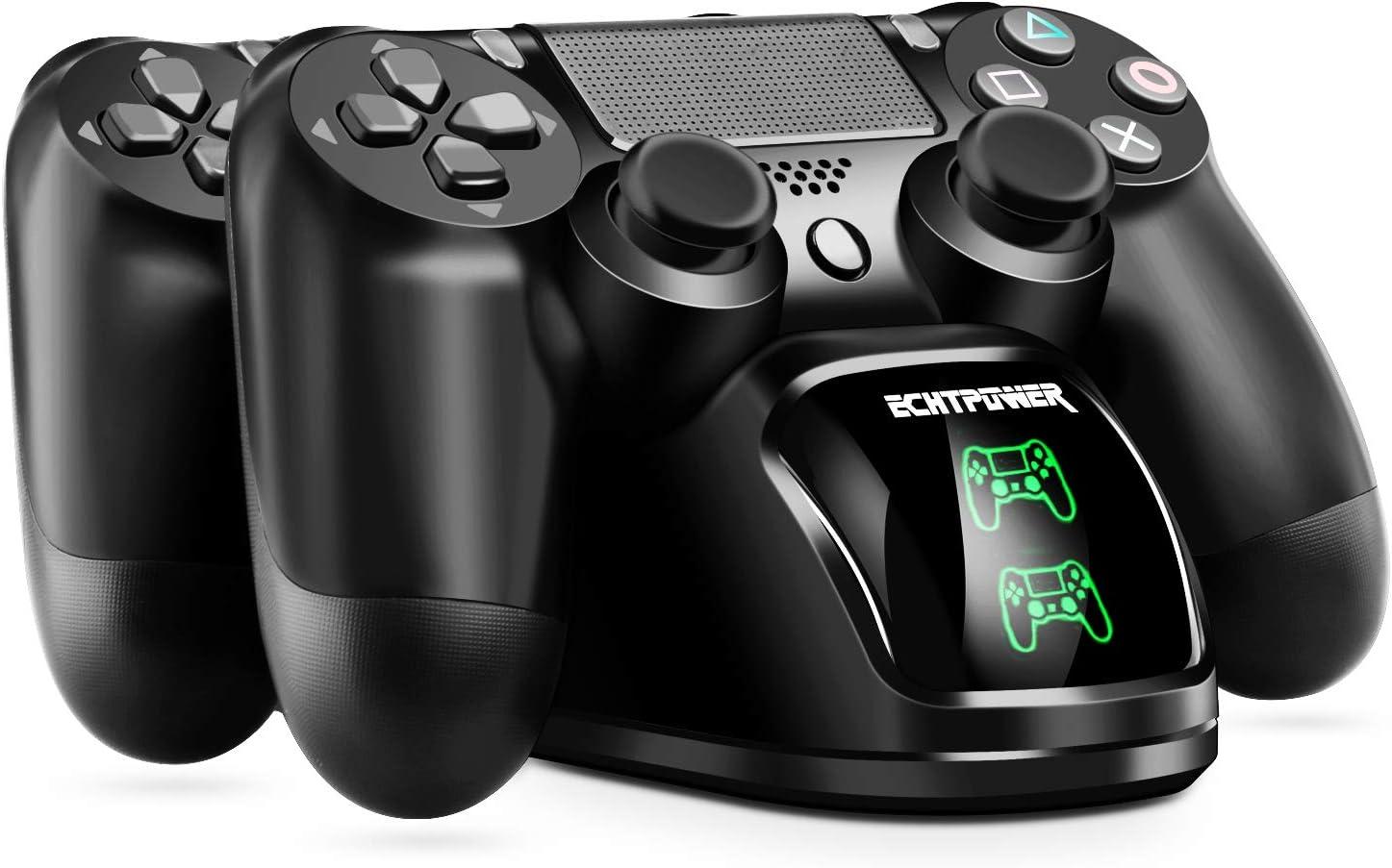 Cargador PS4 ECHTPower DualShock 4 Estación de Carga Soporte de Energía para Sony Playstation PS4 / Slim/Pro Controlador Inalámbrico con Cable de Carga y Elegantes LED (Verde&Rojo LED)