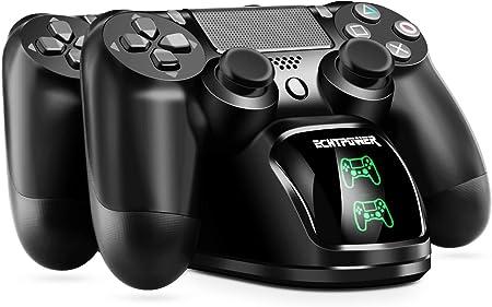 Cargador PS4 ECHTPower DualShock 4 Estación de Carga Soporte de Energía para Sony Playstation PS4 / Slim/Pro Controlador Inalámbrico con Cable de Carga y Elegantes LED (Verde&Rojo LED): Amazon.es: Electrónica