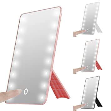 Adjustable LED Lighted Vanity Tabletop Mirrors, Oenbopo Smart Touch  Rotatory 16LED Lighted Vanity Mirror Makeup