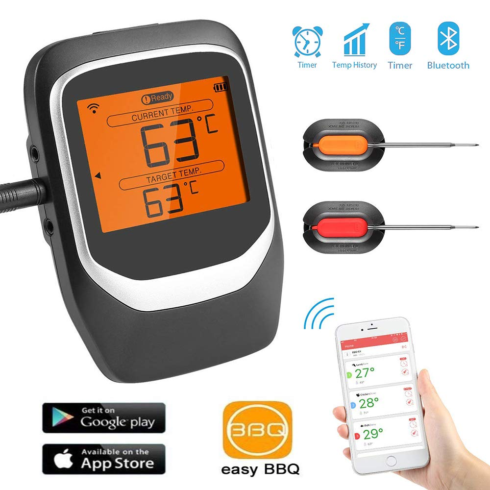 Wireless Meat Thermometer, SendowTek Bluetooth Barbecue Thermometer Smart Digital Cooking Thermometer LCD Backlit Display, Instant Reading,100M Range Remote Control, Magnetic Attraction Use&Wash for Oven, Grill, BBQ (2 Probes)