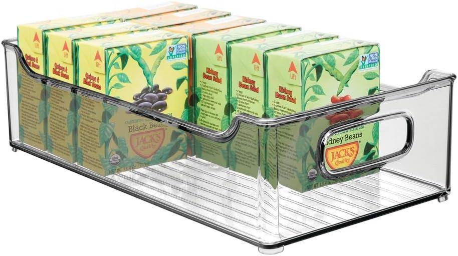 "mDesign Wide Stackable Plastic Kitchen Pantry Cabinet, Refrigerator or Freezer Food Storage Bin with Handles - Organizer for Fruit, Yogurt, Snacks, Pasta - BPA Free, 14.5"" Long - Smoke Gray"