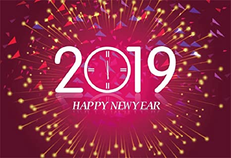 leyiyi 9x6ft 2019 happy new year backdrop vintage eve party clock fireworks bokeh halo banner confetti