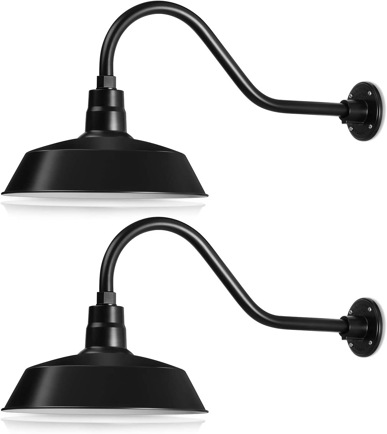 14in. Satin Black Outdoor Gooseneck Barn Light Fixture With 22in. Long Extension Arm - Wall Sconce Farmhouse, Antique Style - UL Listed - 9W 900lm A19 LED Bulb (5000K Cool White) - 2-Pack