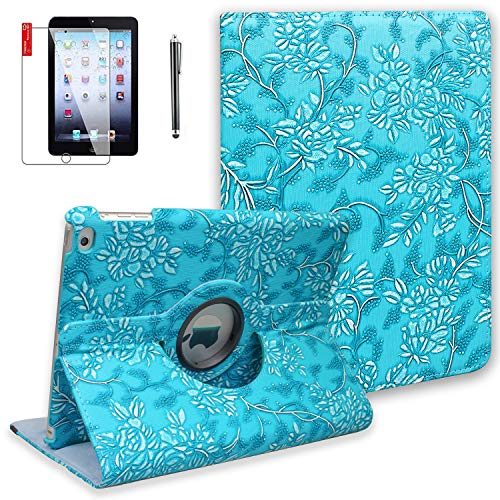 iPad Air 2 Case with Screen Protector and Stylus - 360 Degree Rotating Stand, Smart Auto Sleep/Wake, Leather Full Body Protective Cover for Apple iPad Air 2 - A1566 A1567 MGKL2LL/A (Embossed Flower) (Stylus With Cover 2 Ipad)