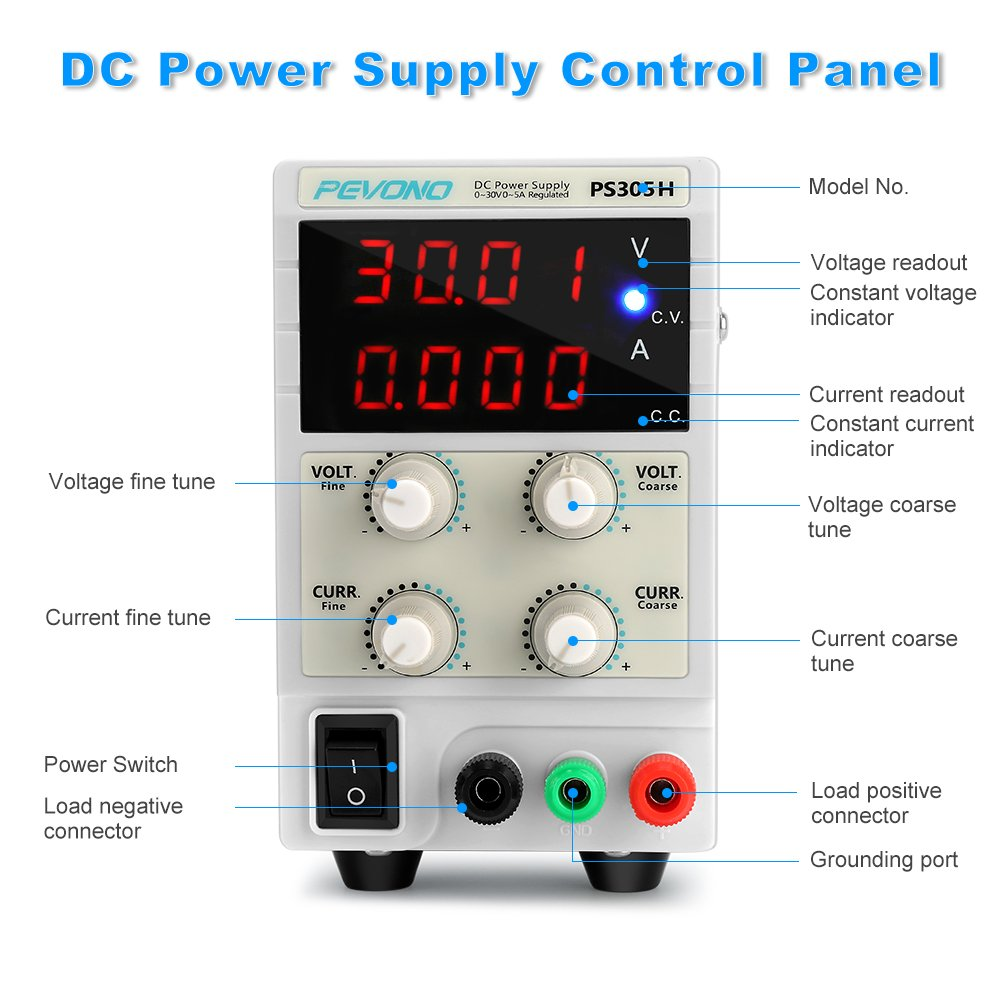 Dc Bench Power Supply Variable Pevono Ps305h 0 30v 5a Lcd Display 50v 2a Circuit Diagrams Schematics Electronic Accurate Voltagecurrent Adjustable Switching Regulated With Us Cord