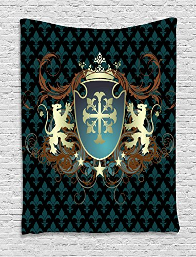 Ambesonne Medieval Tapestry, Heraldic Design from Middle Ages Coat of Arms Crown Lions and Swirls, Wall Hanging for Bedroom Living Room Dorm, 60 W X 80 L inches, Teal Black Cinnamon