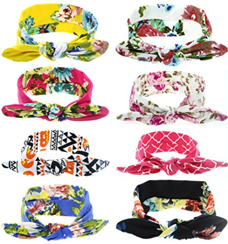 Price comparison product image Qandsweet Baby Girl Hairbands Knotted Design (Pattern of Flowers 8 Pack)