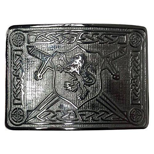 AAR MEN'S SCOTTISH KILT BELT BUCKLE RAMPANT LION CROSS SWORDS CHROME FINISH