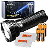 Fenix TK75 2018 5100 Lumens High-Performance Long-Throw Micro-USB Rechargeable Flashlight, 4x 2600mAh 18650 Rechargeable Batteries, 2x Lumen Tactical Battery Organizers